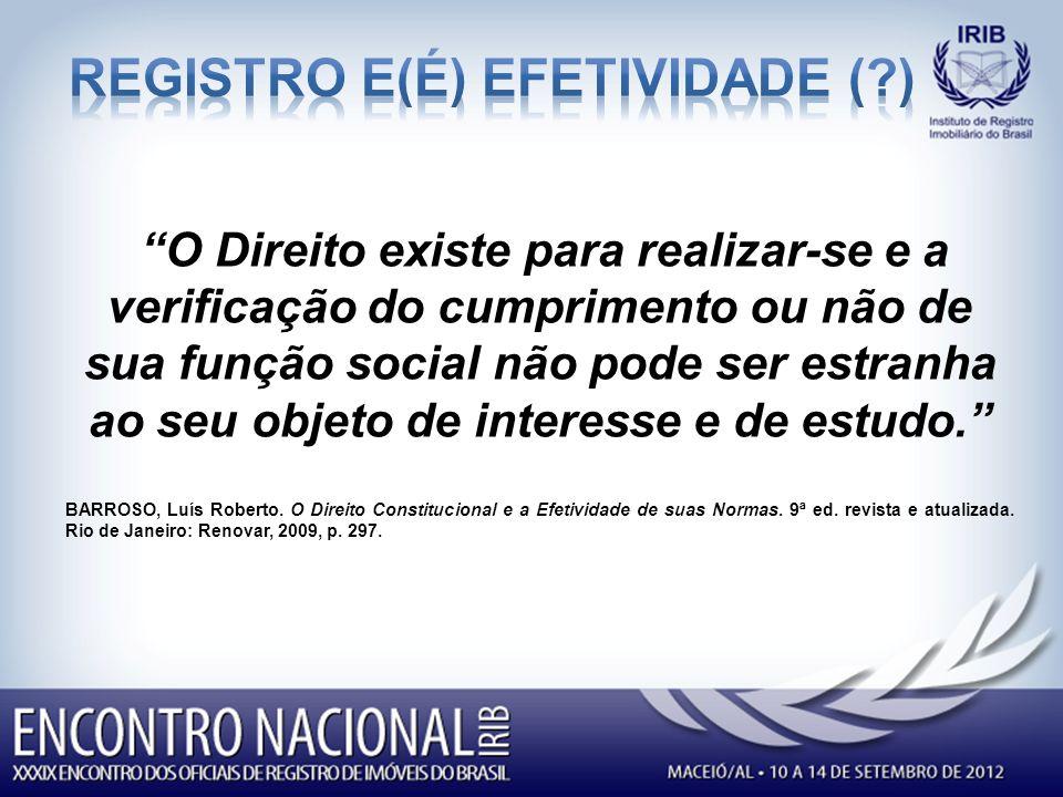 REGISTRO E(é) EFETIVIDADE ( )