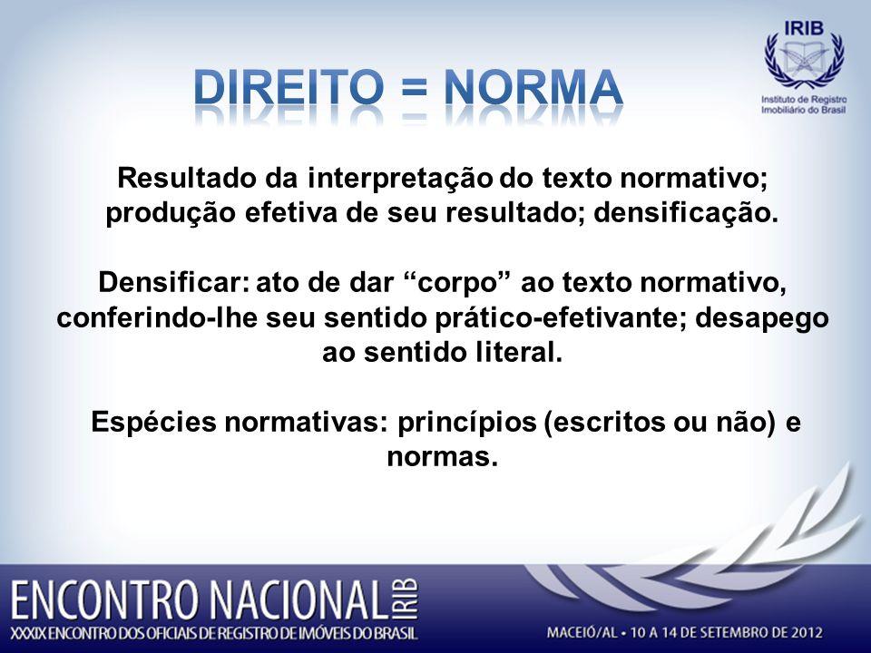 Espécies normativas: princípios (escritos ou não) e normas.