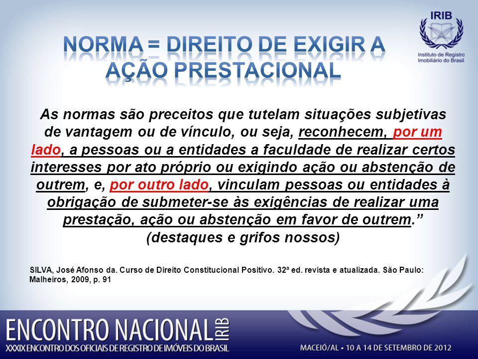 NORMA = DIREITO DE EXIGIR a AÇÃO PRESTACIONAL