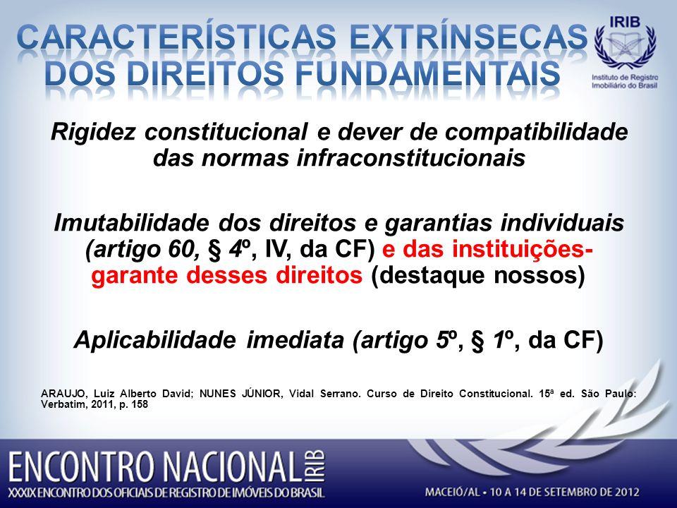 CARACTERÍSTICAS EXTRÍNSECAS DOS DIREITOS FUNDAMENTAIS