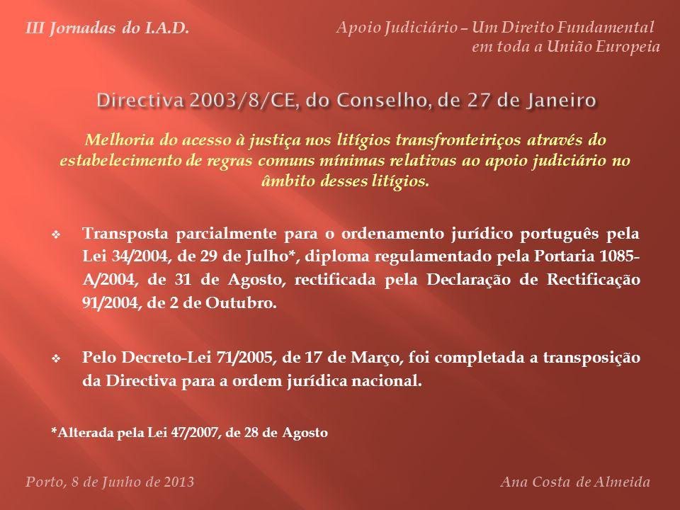 Directiva 2003/8/CE, do Conselho, de 27 de Janeiro