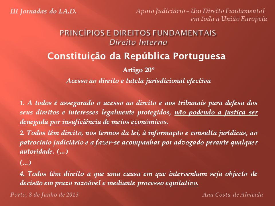 PRINCÍPIOS E DIREITOS FUNDAMENTAIS Direito Interno