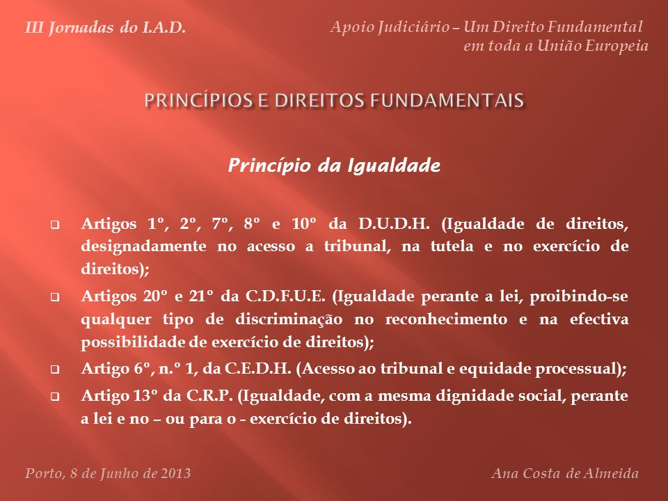 PRINCÍPIOS E DIREITOS FUNDAMENTAIS
