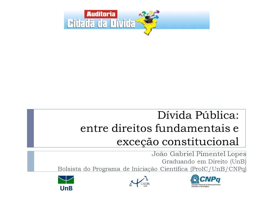 Dívida Pública: entre direitos fundamentais e exceção constitucional
