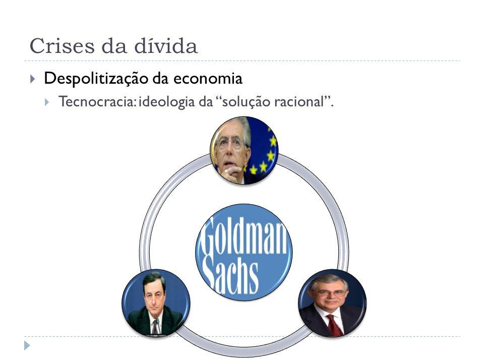 Crises da dívida Despolitização da economia