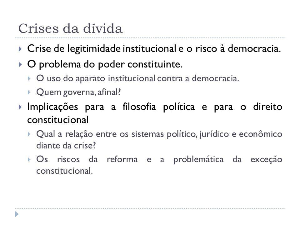 Crises da dívida Crise de legitimidade institucional e o risco à democracia. O problema do poder constituinte.