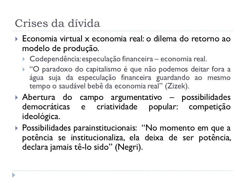 Crises da dívida Economia virtual x economia real: o dilema do retorno ao modelo de produção.
