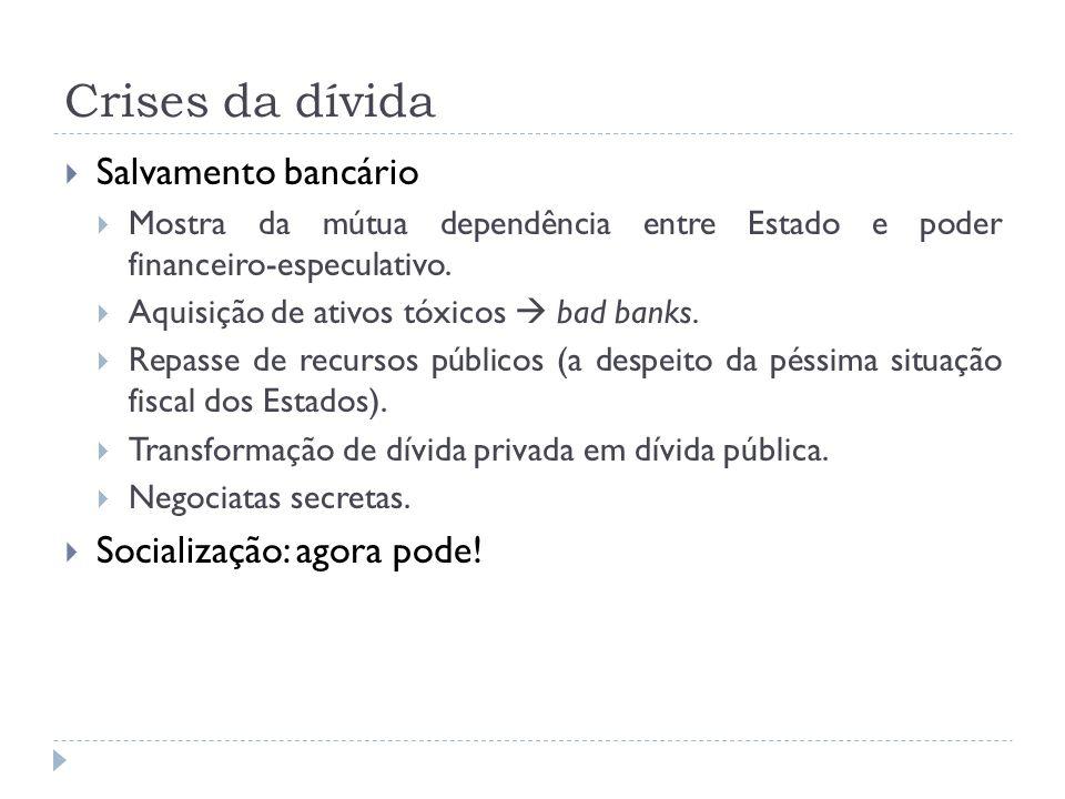 Crises da dívida Salvamento bancário Socialização: agora pode!