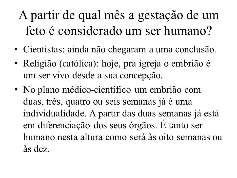 A partir de qual mês a gestação de um feto é considerado um ser humano