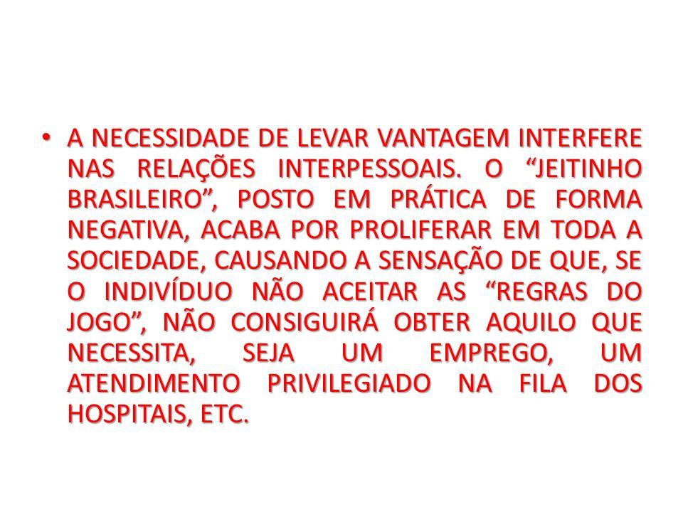 A NECESSIDADE DE LEVAR VANTAGEM INTERFERE NAS RELAÇÕES INTERPESSOAIS