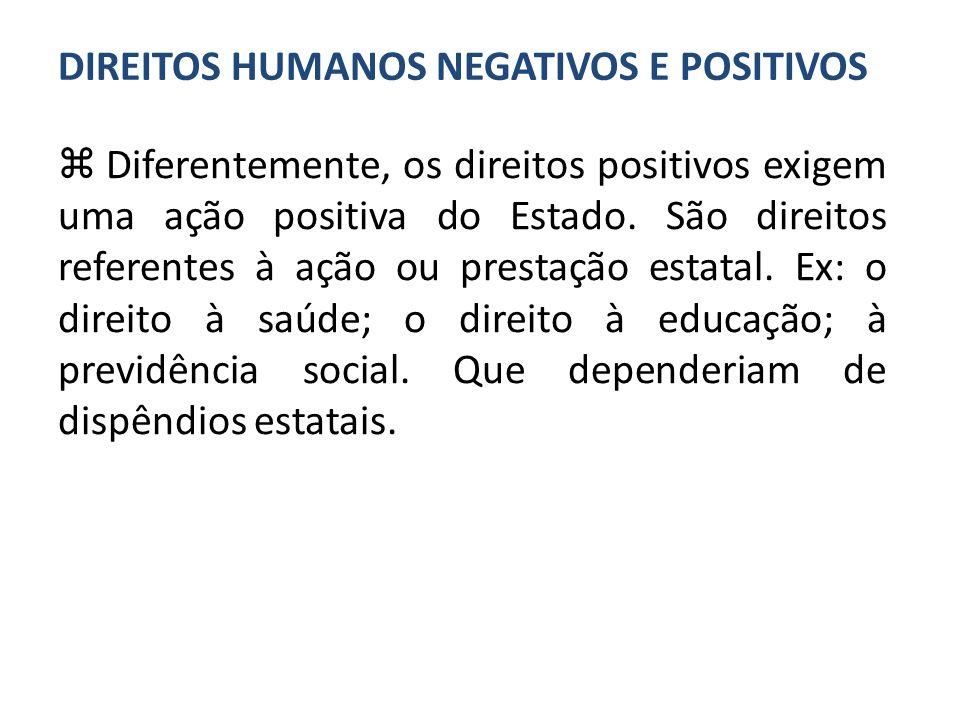 DIREITOS HUMANOS NEGATIVOS E POSITIVOS