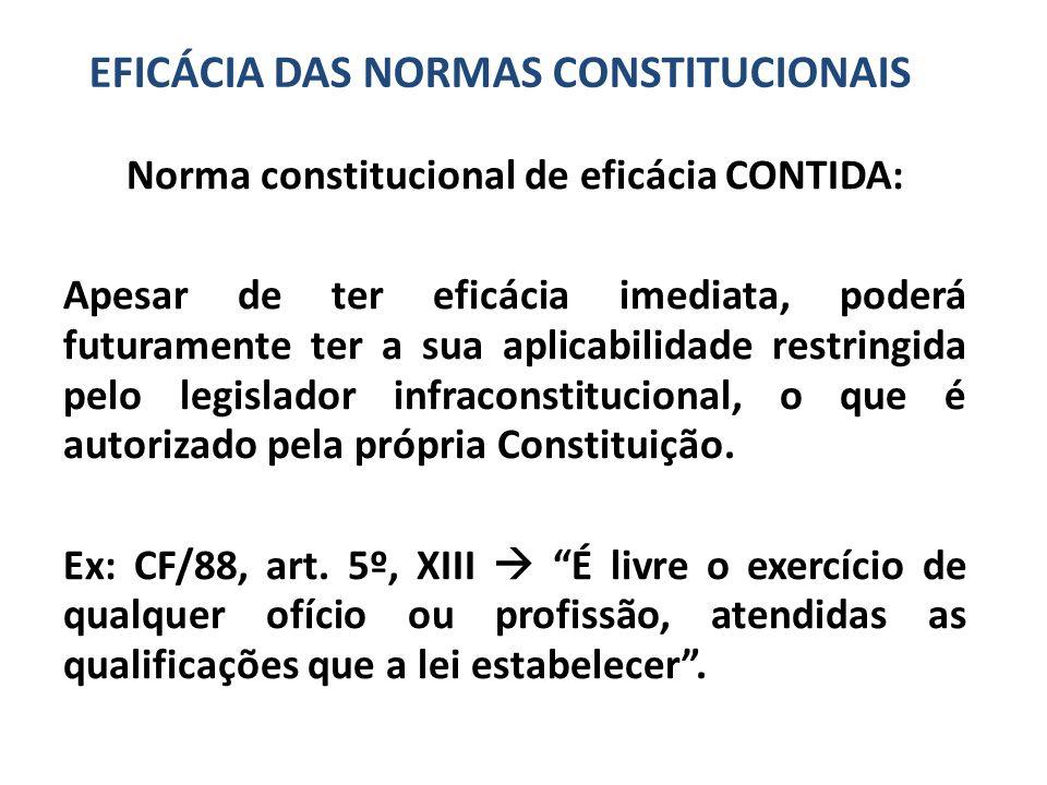 Norma constitucional de eficácia CONTIDA: