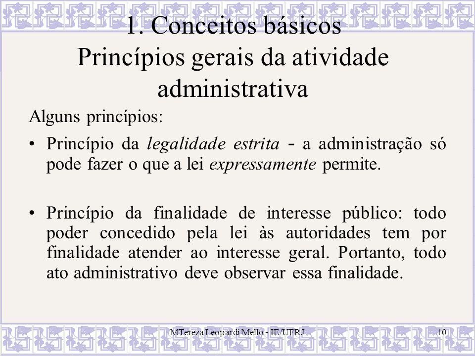 1. Conceitos básicos Princípios gerais da atividade administrativa