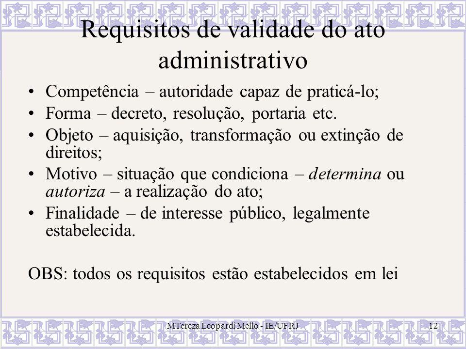 Requisitos de validade do ato administrativo