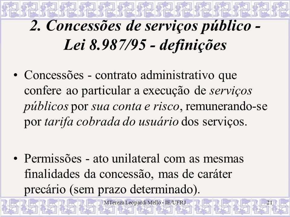 2. Concessões de serviços público - Lei 8.987/95 - definições