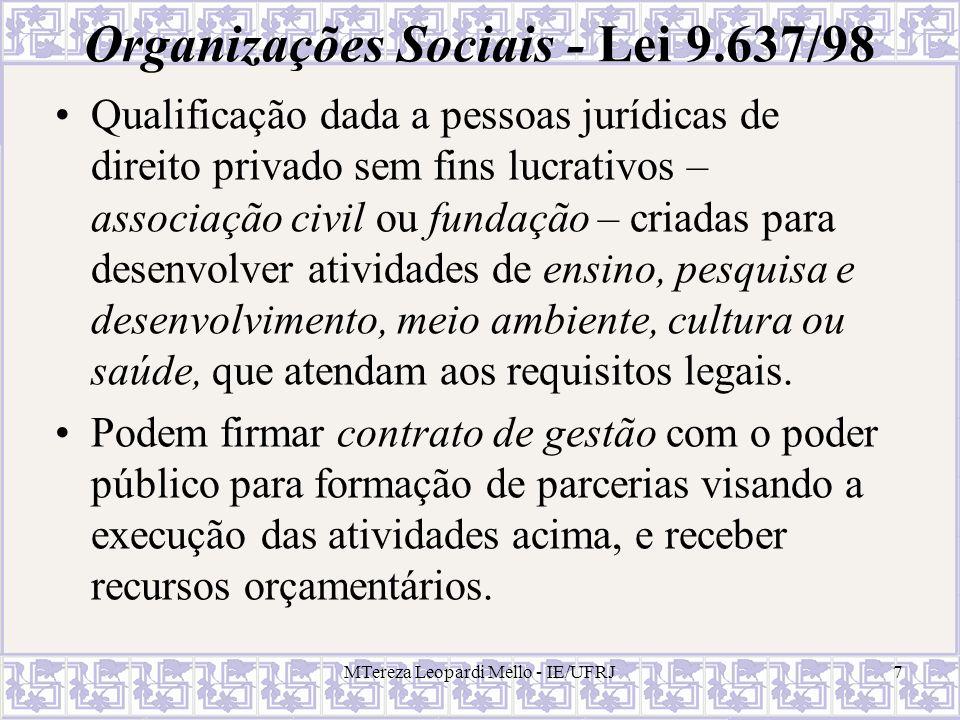 Organizações Sociais - Lei 9.637/98