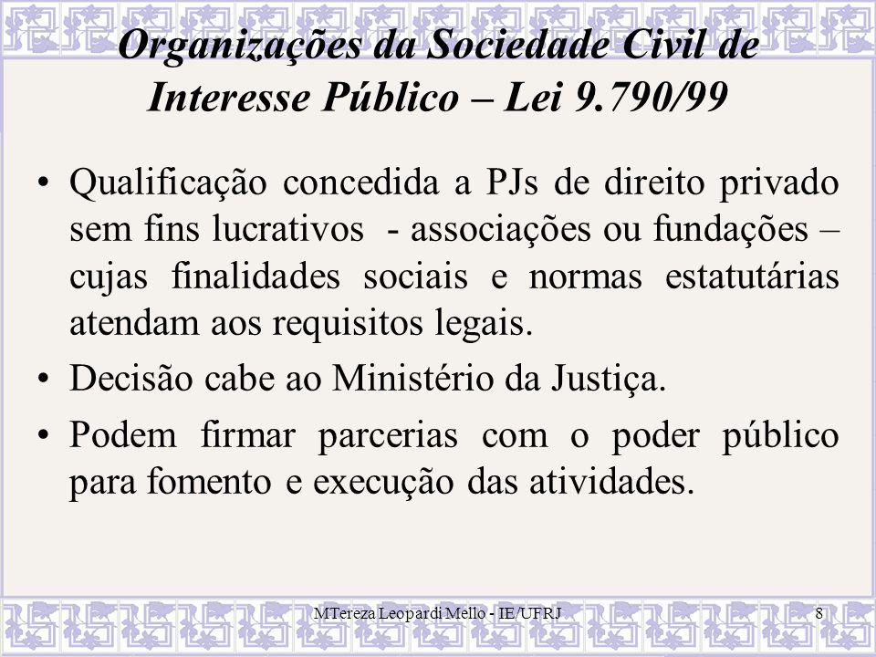 Organizações da Sociedade Civil de Interesse Público – Lei 9.790/99