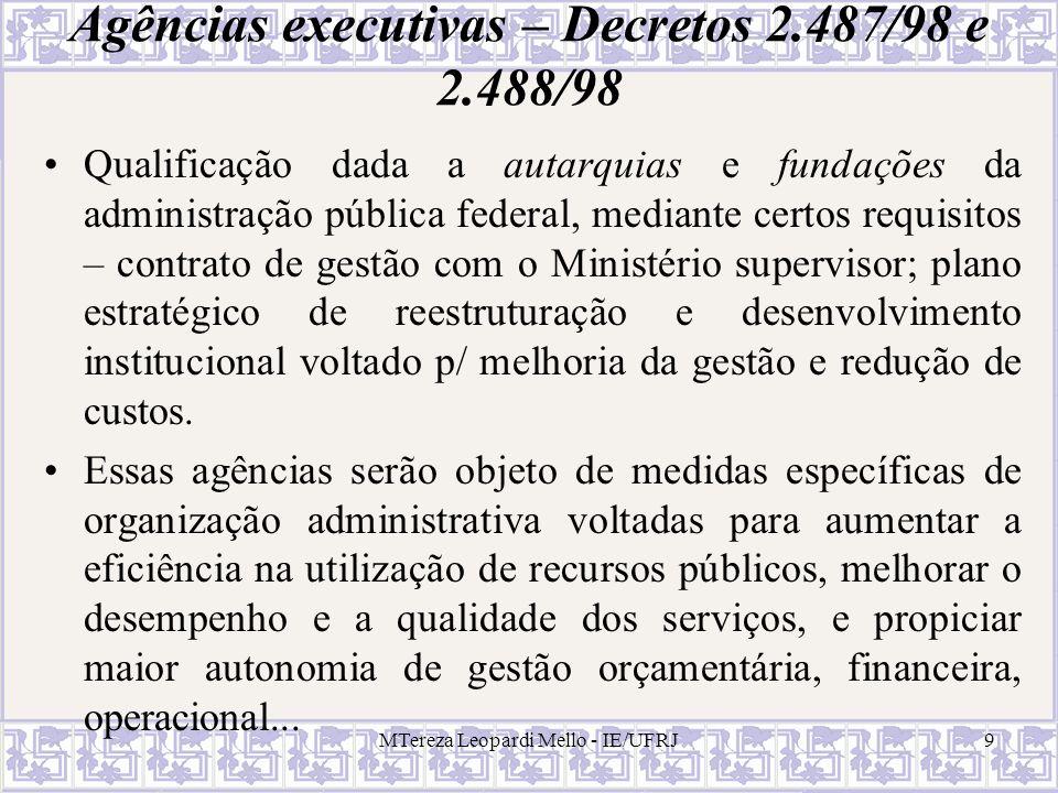 Agências executivas – Decretos 2.487/98 e 2.488/98