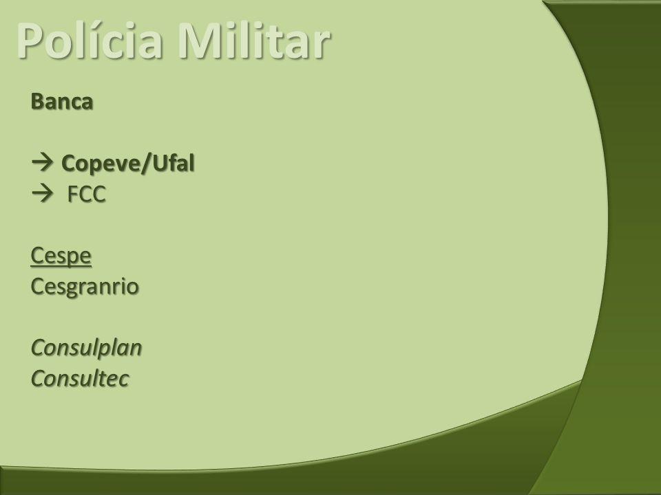 Polícia Militar Banca  Copeve/Ufal  FCC Cespe Cesgranrio Consulplan