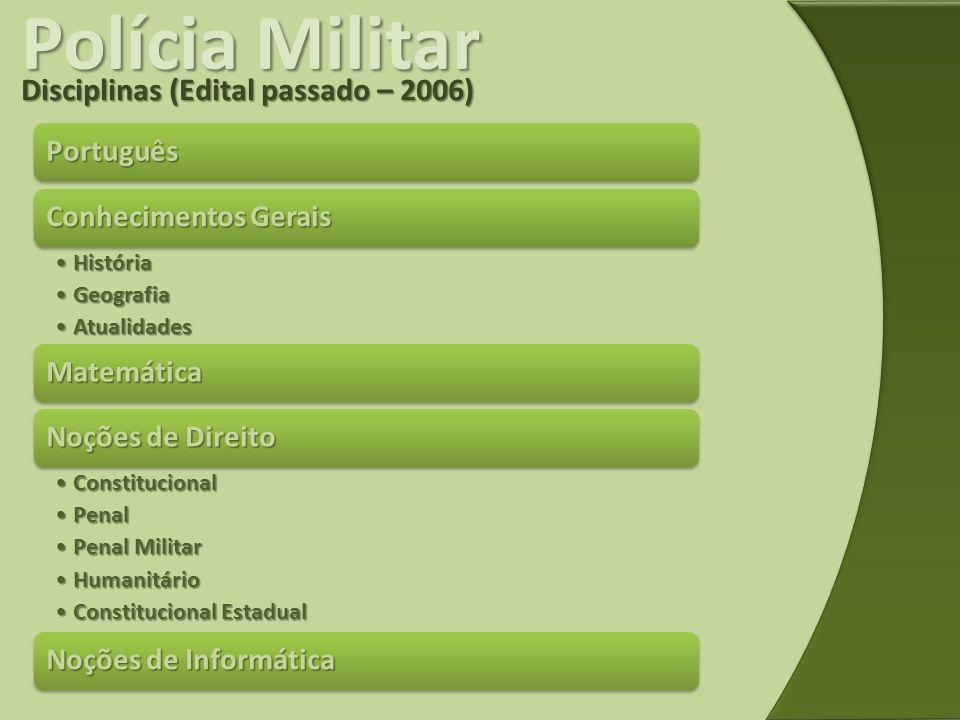 Polícia Militar Disciplinas (Edital passado – 2006) Português
