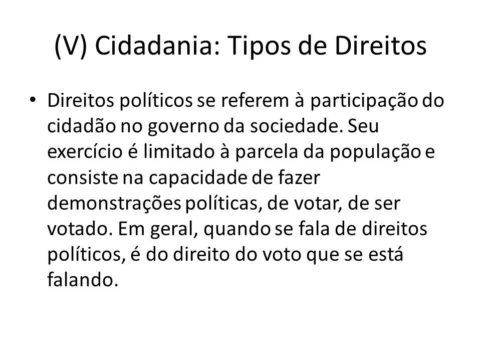 (V) Cidadania: Tipos de Direitos
