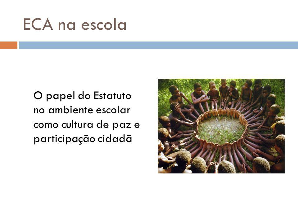 ECA na escola O papel do Estatuto no ambiente escolar como cultura de paz e participação cidadã