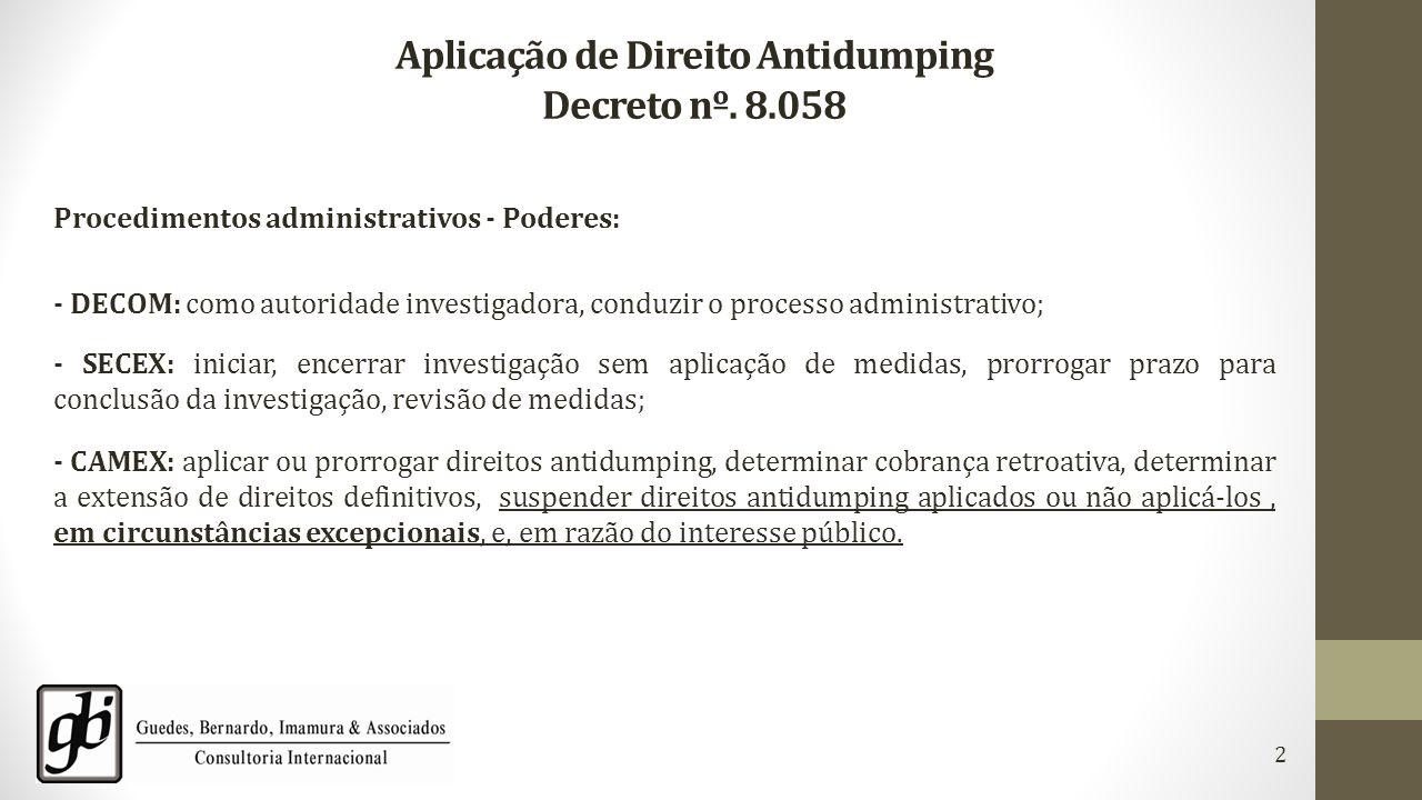 Aplicação de Direito Antidumping Decreto nº. 8.058