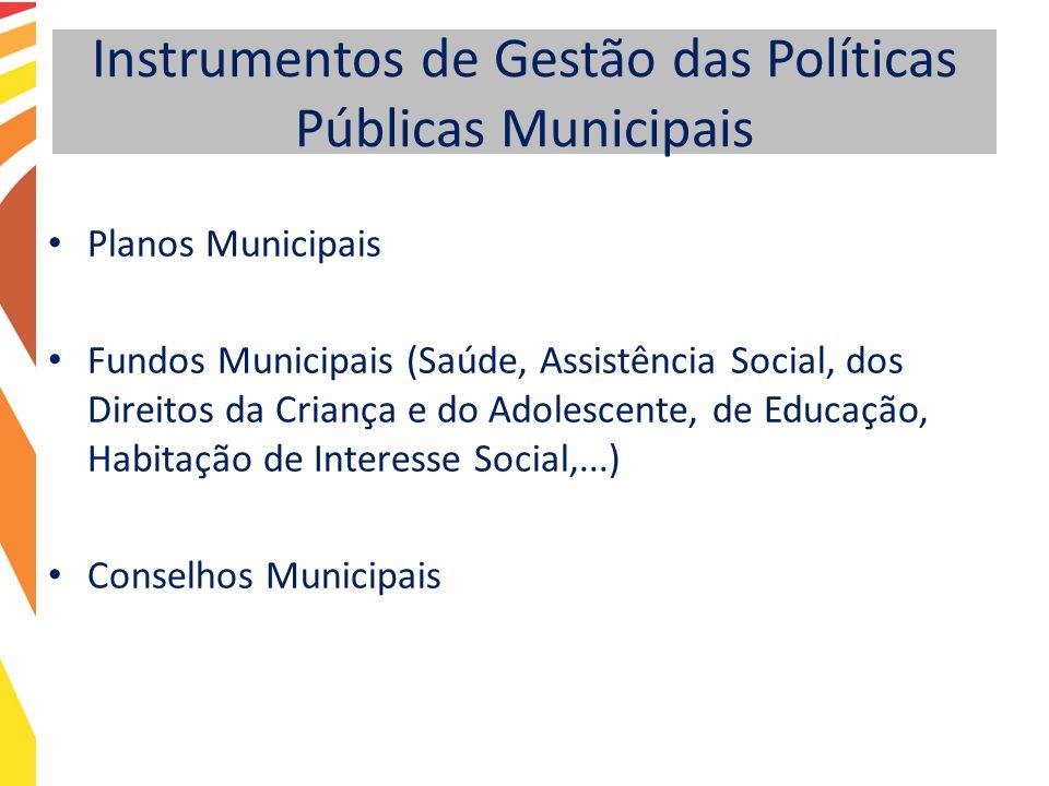Instrumentos de Gestão das Políticas Públicas Municipais