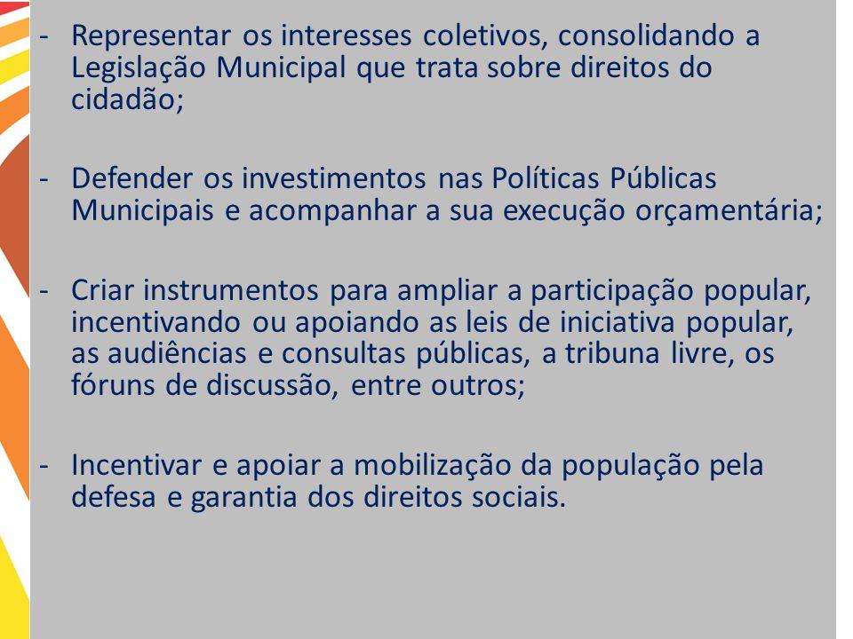 Representar os interesses coletivos, consolidando a Legislação Municipal que trata sobre direitos do cidadão;