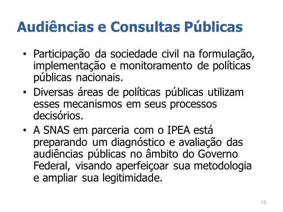 Audiências e Consultas Públicas