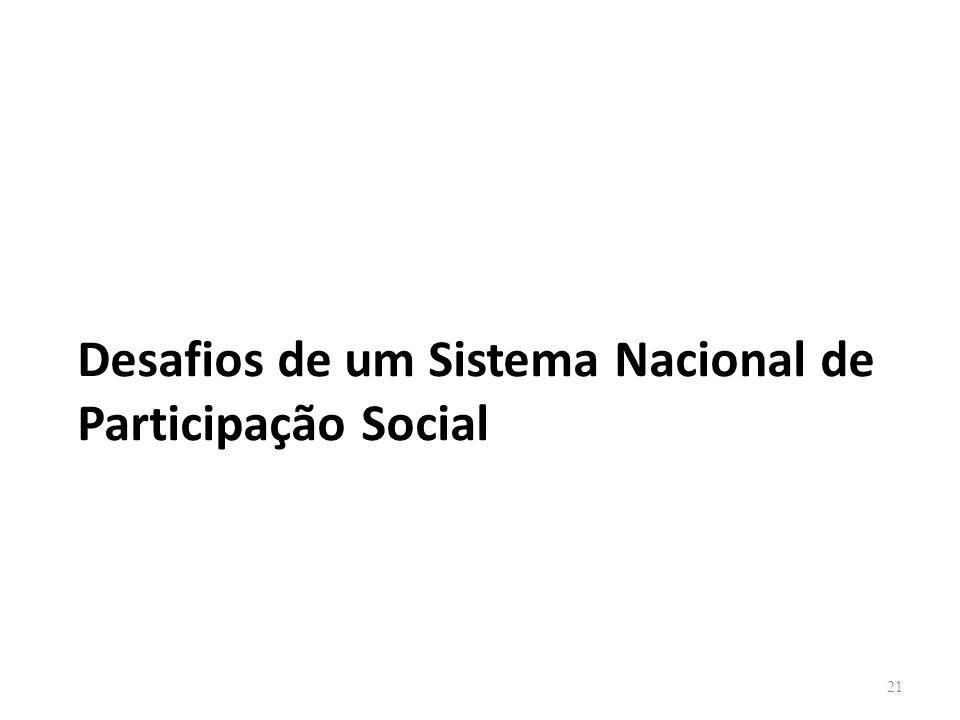 Desafios de um Sistema Nacional de Participação Social