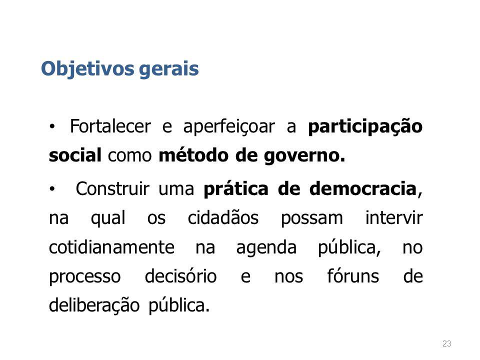 Objetivos gerais Fortalecer e aperfeiçoar a participação social como método de governo.