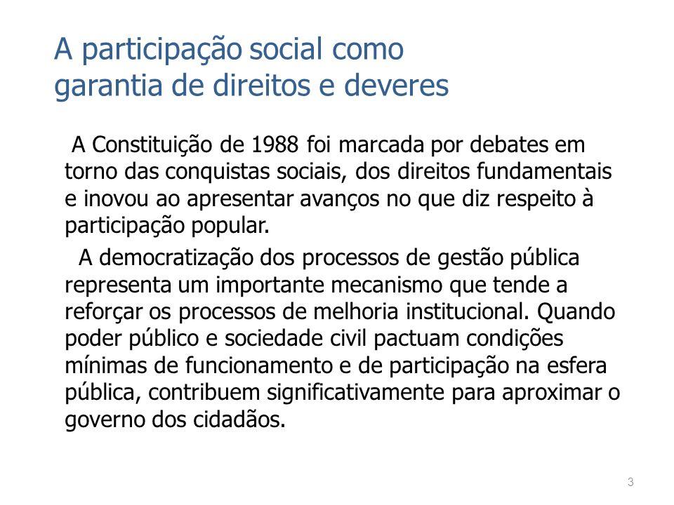 A participação social como garantia de direitos e deveres