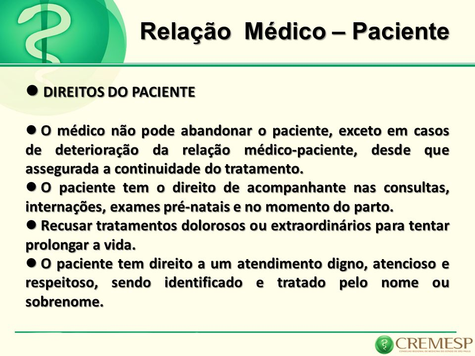 Relação Médico – Paciente