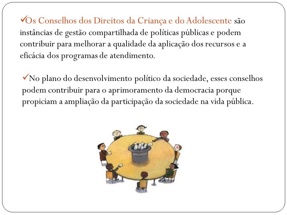 Os Conselhos dos Direitos da Criança e do Adolescente são instâncias de gestão compartilhada de políticas públicas e podem contribuir para melhorar a qualidade da aplicação dos recursos e a eficácia dos programas de atendimento.