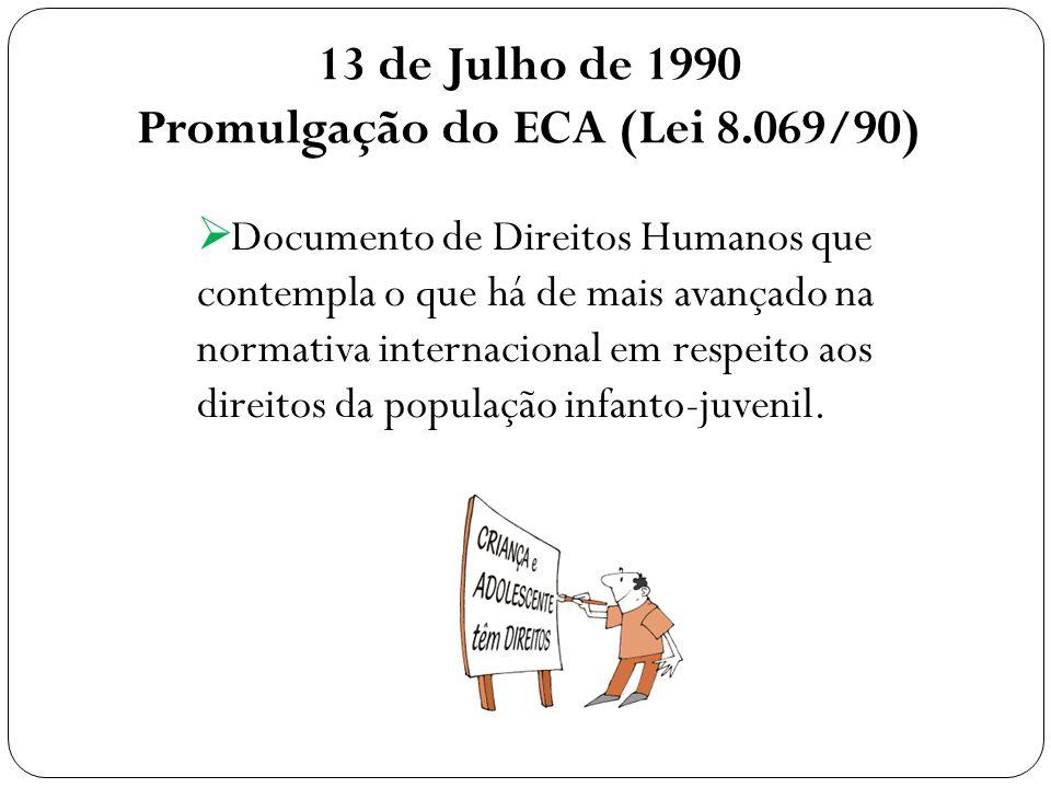 13 de Julho de 1990 Promulgação do ECA (Lei 8.069/90)