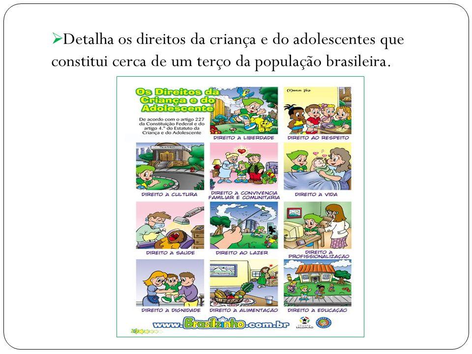 Detalha os direitos da criança e do adolescentes que constitui cerca de um terço da população brasileira.