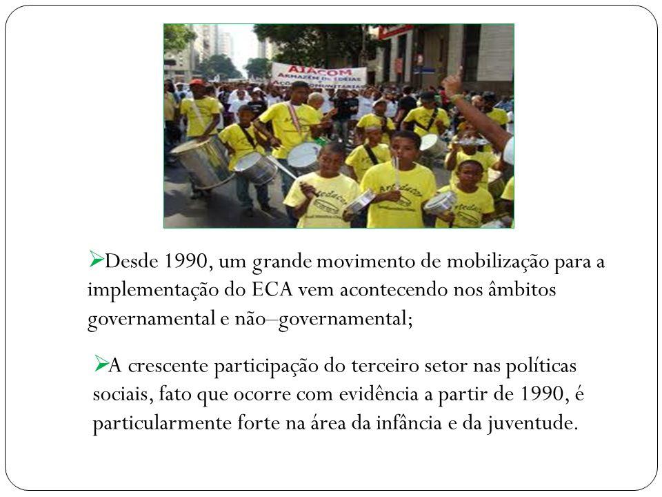 Desde 1990, um grande movimento de mobilização para a implementação do ECA vem acontecendo nos âmbitos governamental e não–governamental;
