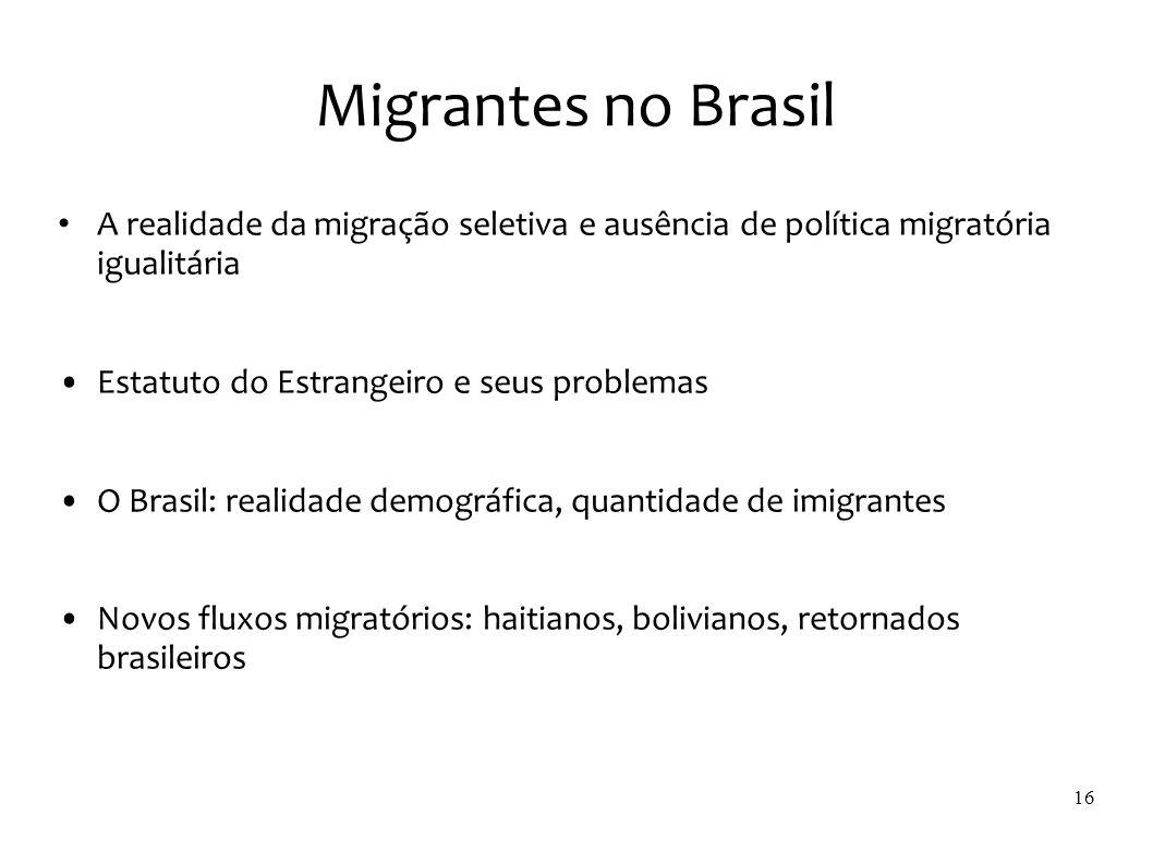 Migrantes no Brasil A realidade da migração seletiva e ausência de política migratória igualitária.