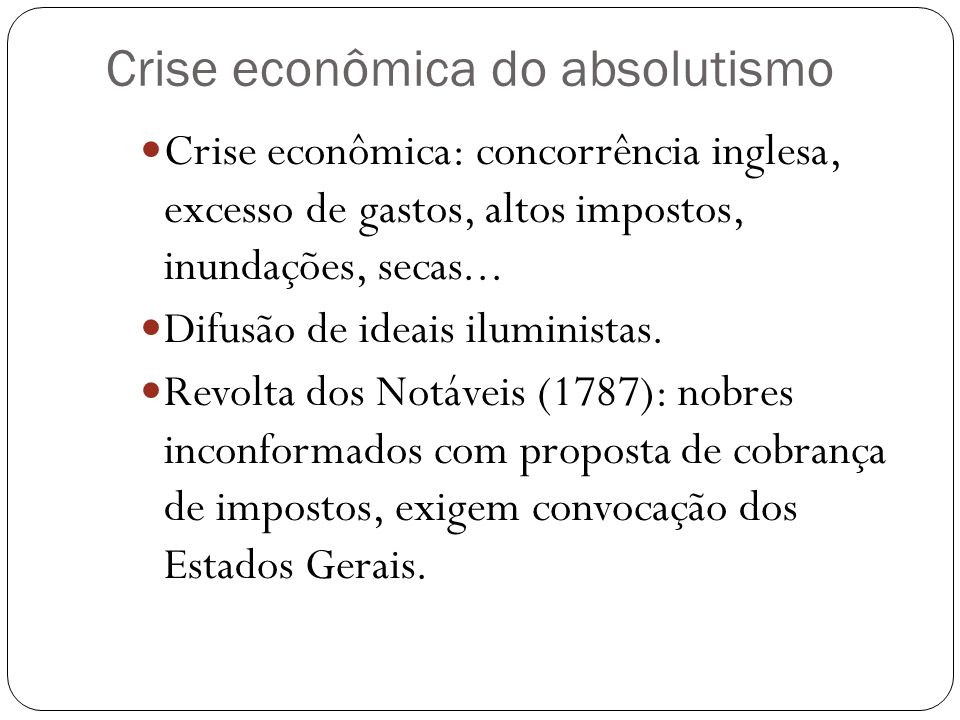 Crise econômica do absolutismo