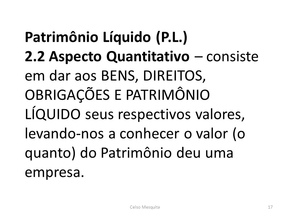Patrimônio Líquido (P. L. ) 2