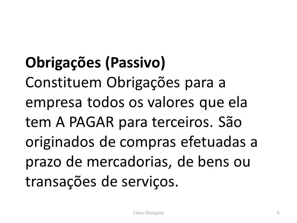 Obrigações (Passivo) Constituem Obrigações para a empresa todos os valores que ela tem A PAGAR para terceiros. São originados de compras efetuadas a prazo de mercadorias, de bens ou transações de serviços.