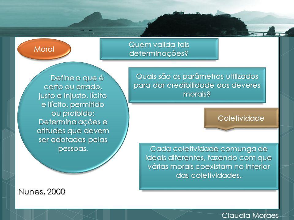 Nunes, 2000 Quem valida tais determinações Moral
