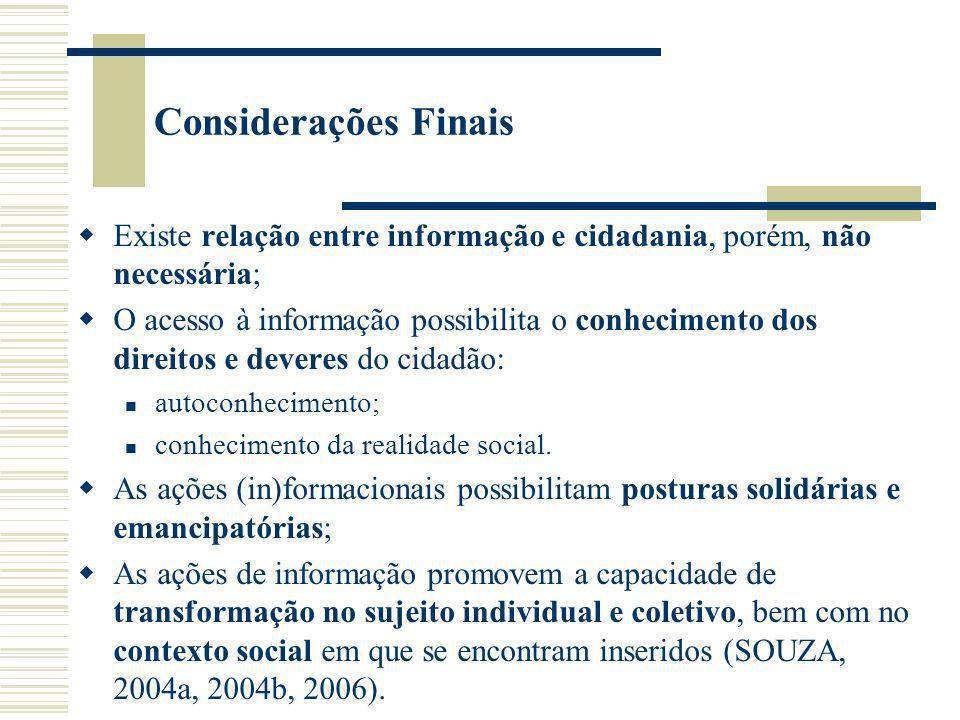 Considerações Finais Existe relação entre informação e cidadania, porém, não necessária;