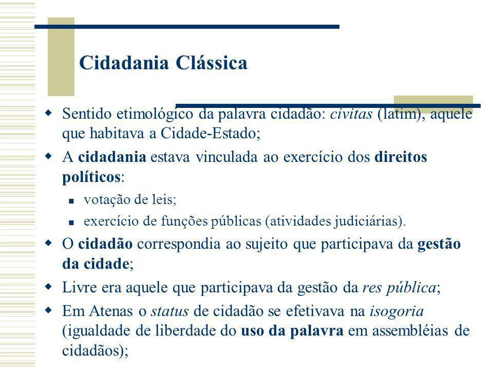 Cidadania Clássica Sentido etimológico da palavra cidadão: civitas (latim), aquele que habitava a Cidade-Estado;
