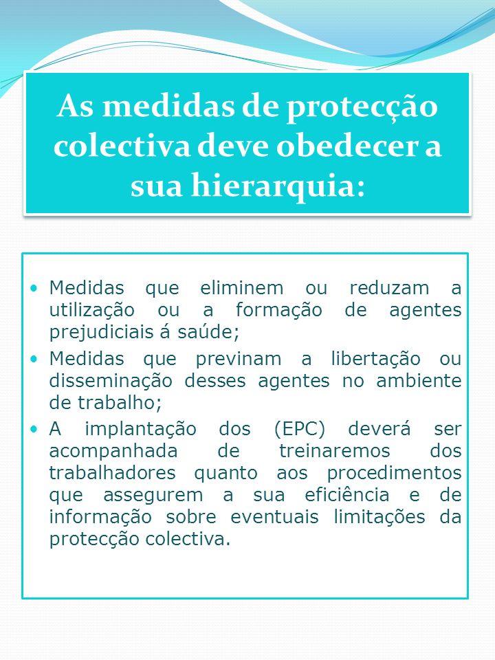 As medidas de protecção colectiva deve obedecer a sua hierarquia: