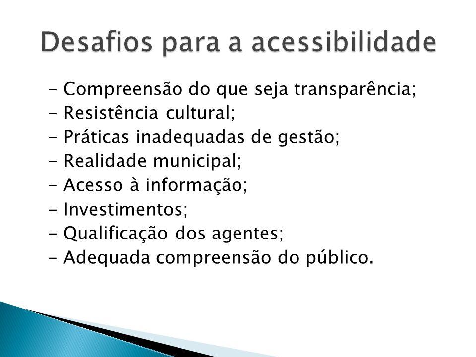 Desafios para a acessibilidade