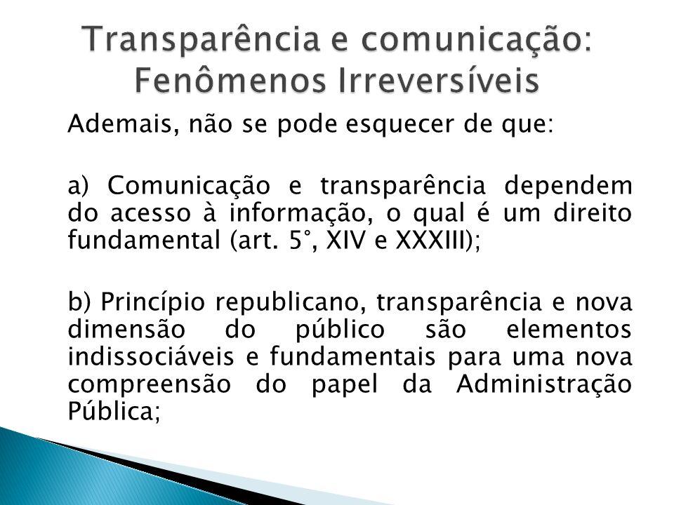 Transparência e comunicação: Fenômenos Irreversíveis