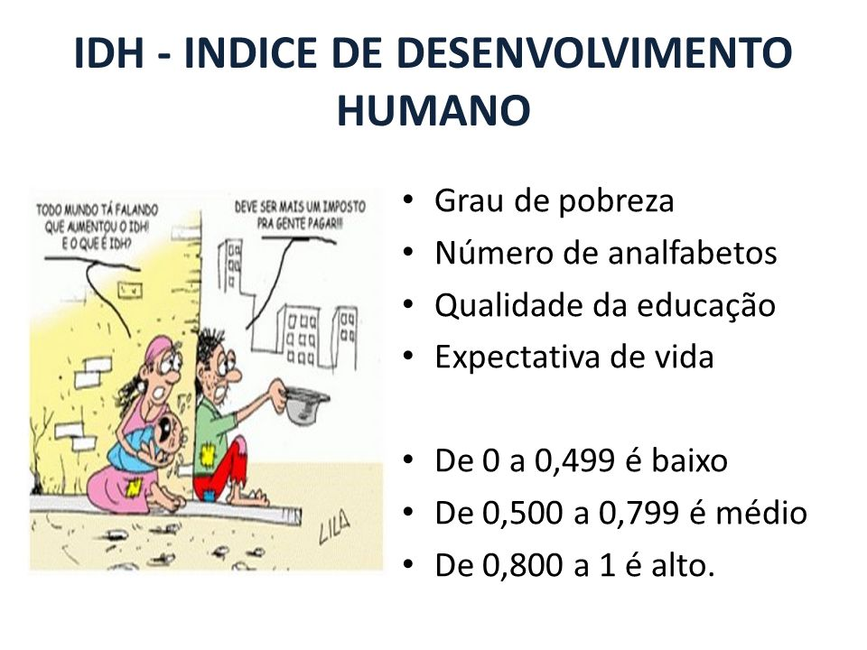 IDH - INDICE DE DESENVOLVIMENTO HUMANO