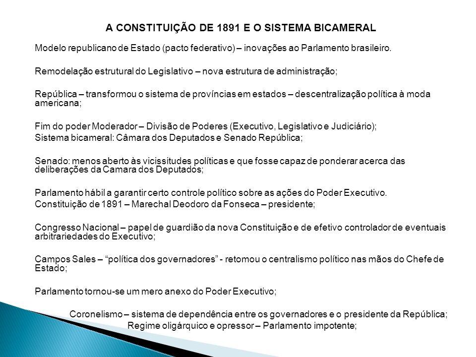 A CONSTITUIÇÃO DE 1891 E O SISTEMA BICAMERAL